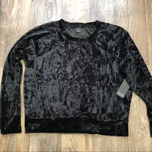 Free Press Black Velvet Crew Neck Sweatshirt Top L